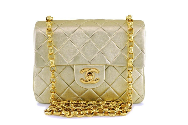 Chanel Vintage Gold Lambskin Classic Square Mini Flap Bag 24k GHW