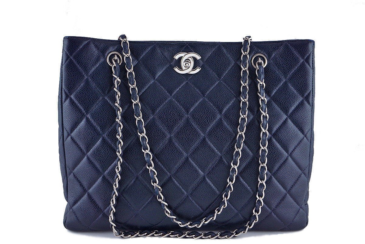 Chanel Caviar Navy Blue Classic Quilted Shopper Tote Bag - Boutique Patina  - 1