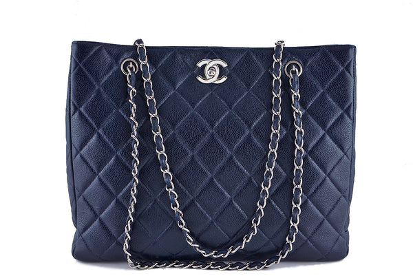 Chanel Caviar Navy Blue Classic Quilted Shopper Tote Bag