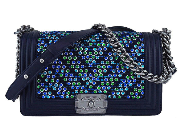 NIB 17S Chanel Rare Jeweled Tweed Lambskin Navy Blue Medium Boy Flap Bag