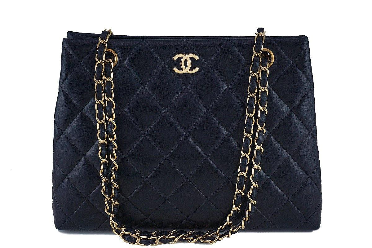 Chanel Black Classic Quilted Shopper Tote Bag - Boutique Patina  - 1