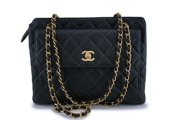 Chanel Vintage Black Caviar Classic Flap Tote Bag 24k GHW