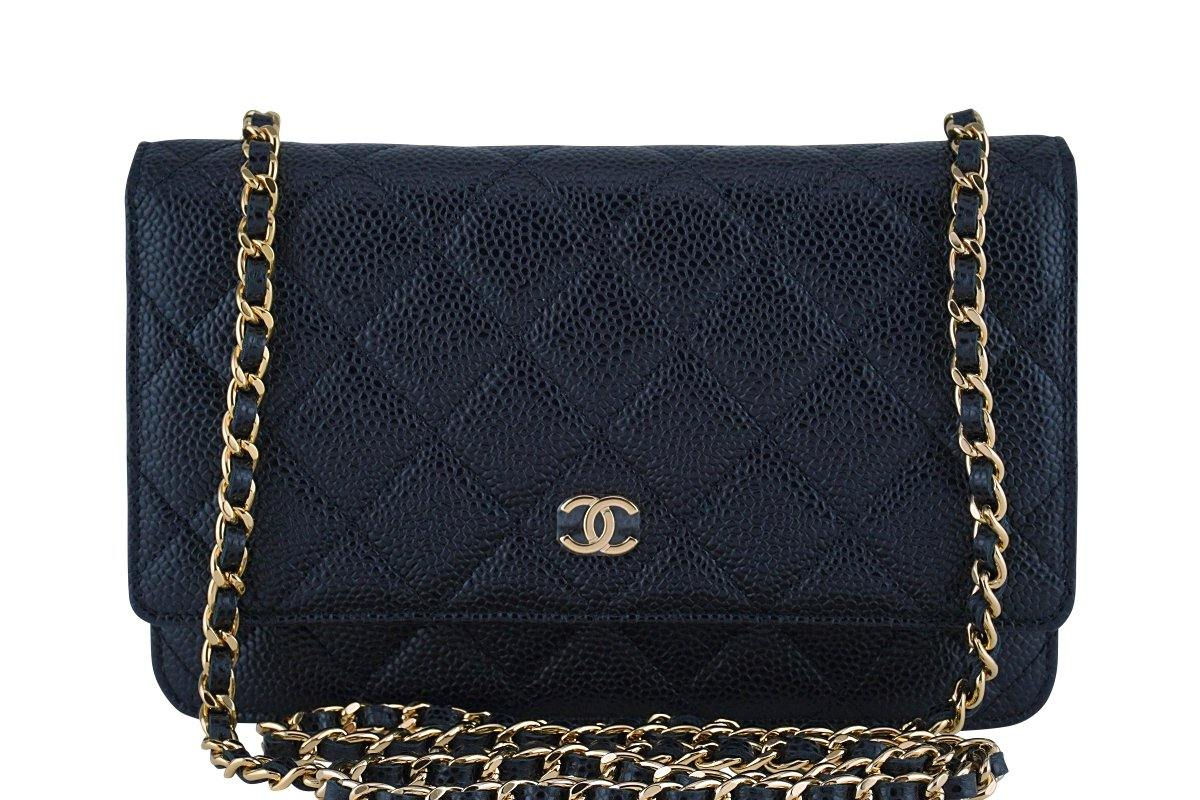 Chanel Black Classic Quilted WOC Wallet on Chain Flap Bag GHW