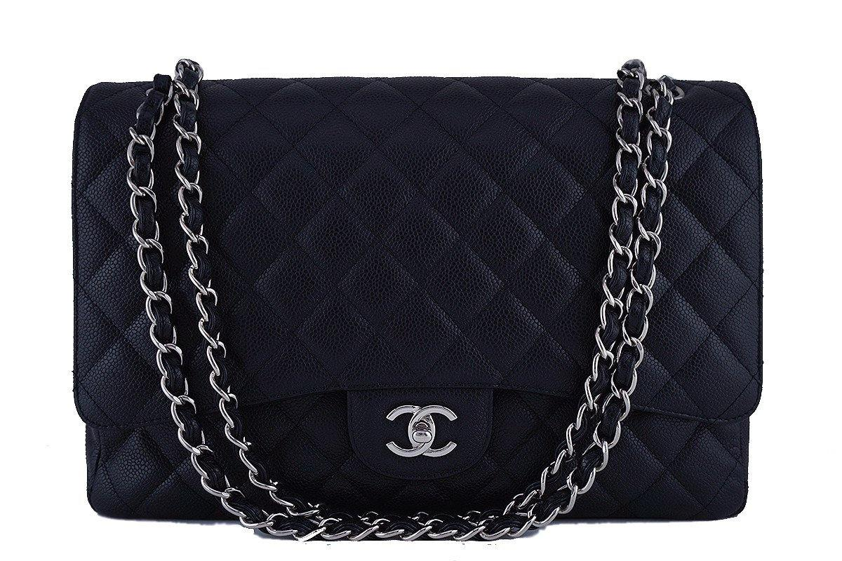 Chanel Black Caviar Maxi Quilted Classic 2.55 Jumbo XL Flap Bag SHW