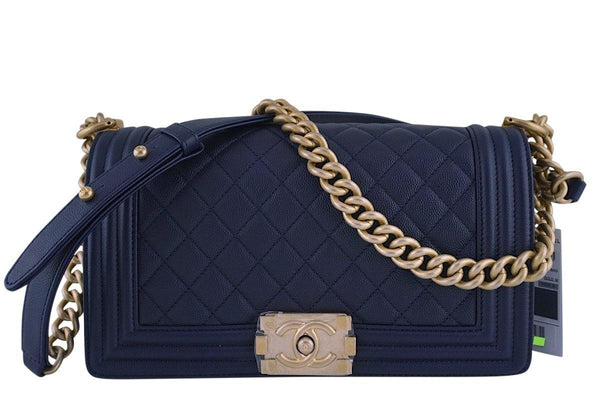 42f5b7e6725177 NWT 17A Chanel Navy Blue Caviar Boy Flap Bag GHW