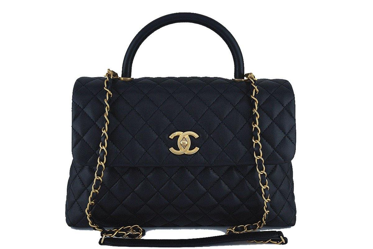 Chanel Black Large Caviar Coco Handle Shoulder Flap Kelly 2-Way Tote Bag GHW
