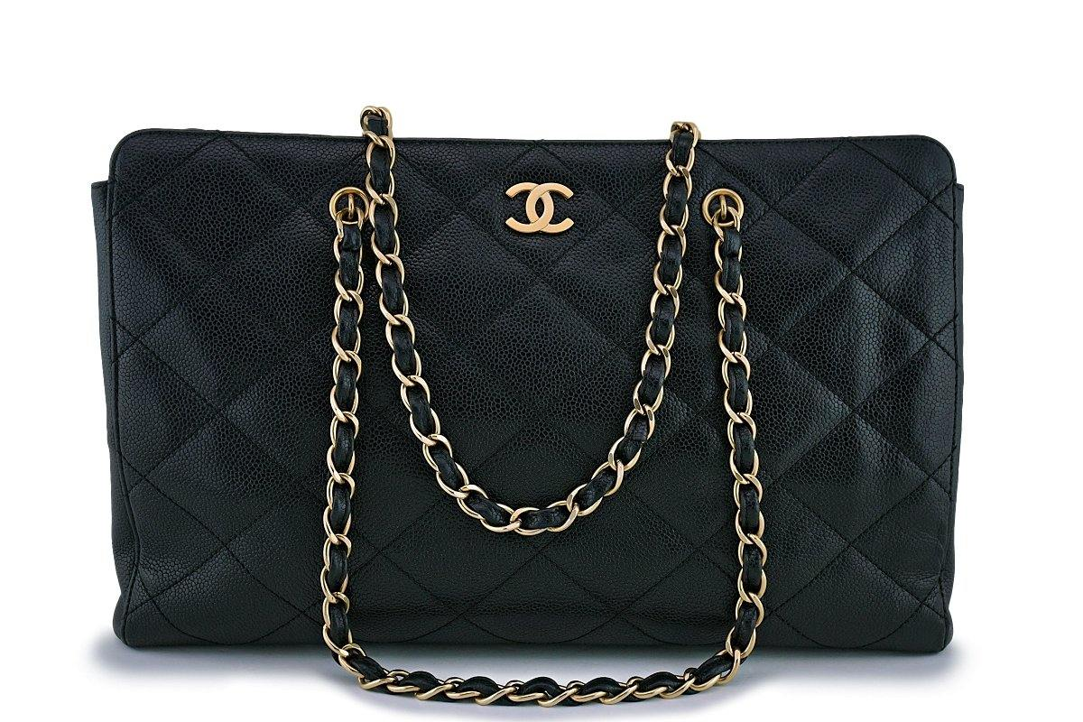 Chanel Black Caviar Quilted Large Shopper Tote Bag - Boutique Patina