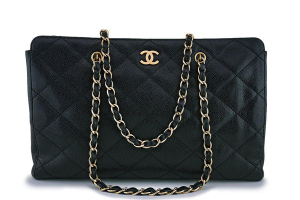 Chanel Black Caviar Quilted Large Shopper Tote Bag