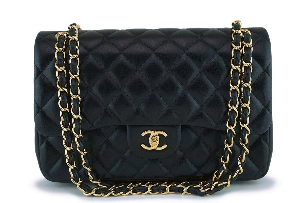 Chanel Black Lambskin Jumbo Classic Double Flap Bag GHW