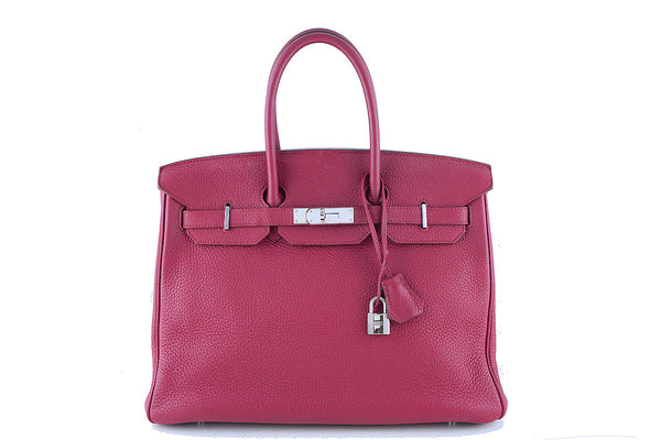 "Hermes 35cm Birkin Bag in Rubis Ruby Red Clemence, PHW ""N"" Stamp"