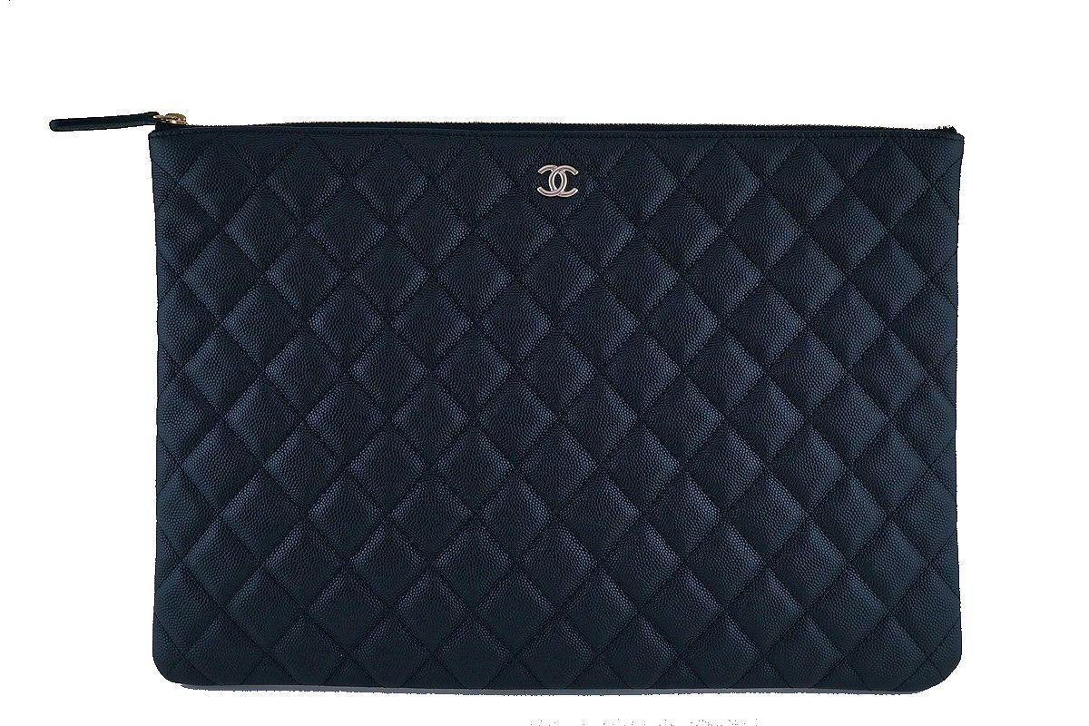 cd2c43f307c8 Chanel O Case Caviar Black Bag Clutch NIB
