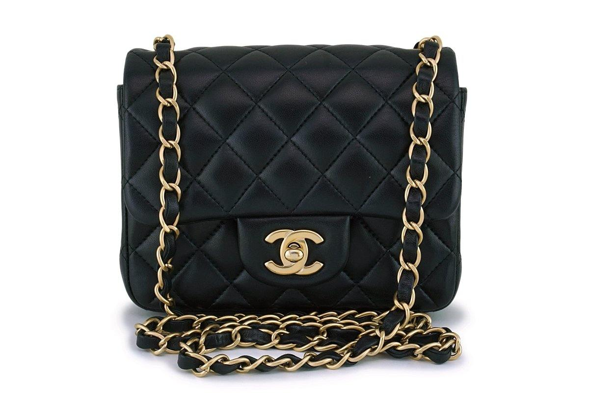 Chanel Black Lambskin Square Mini Classic Flap Bag GHW