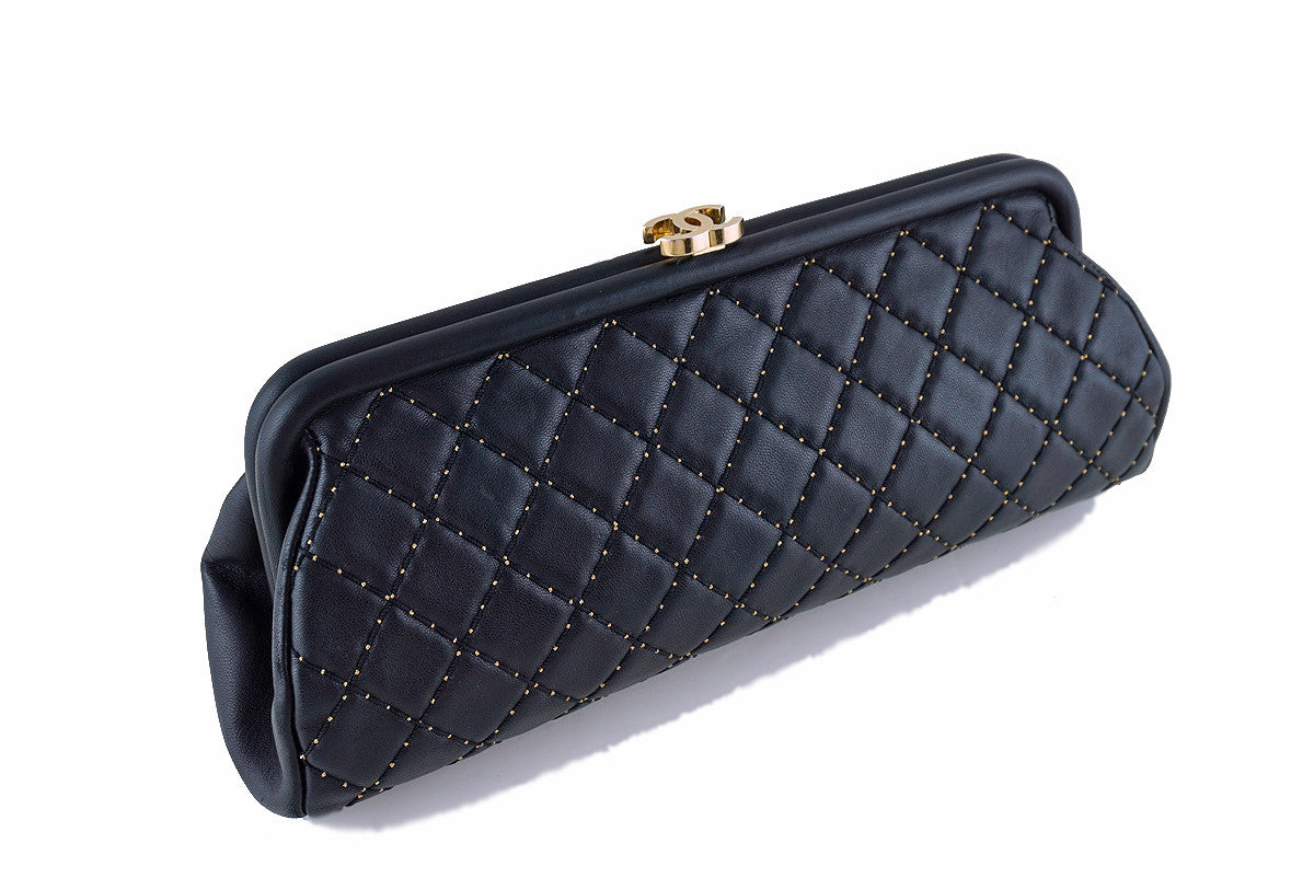 8ebeae3ba92 Chanel Limited Black Timeless Quilted Kisslock Gold Studded Clutch ...