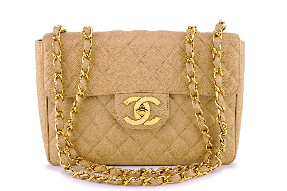 674543eb4284 Chanel Vintage Caviar Camel Beige Jumbo Classic Flap Bag 24k GHW
