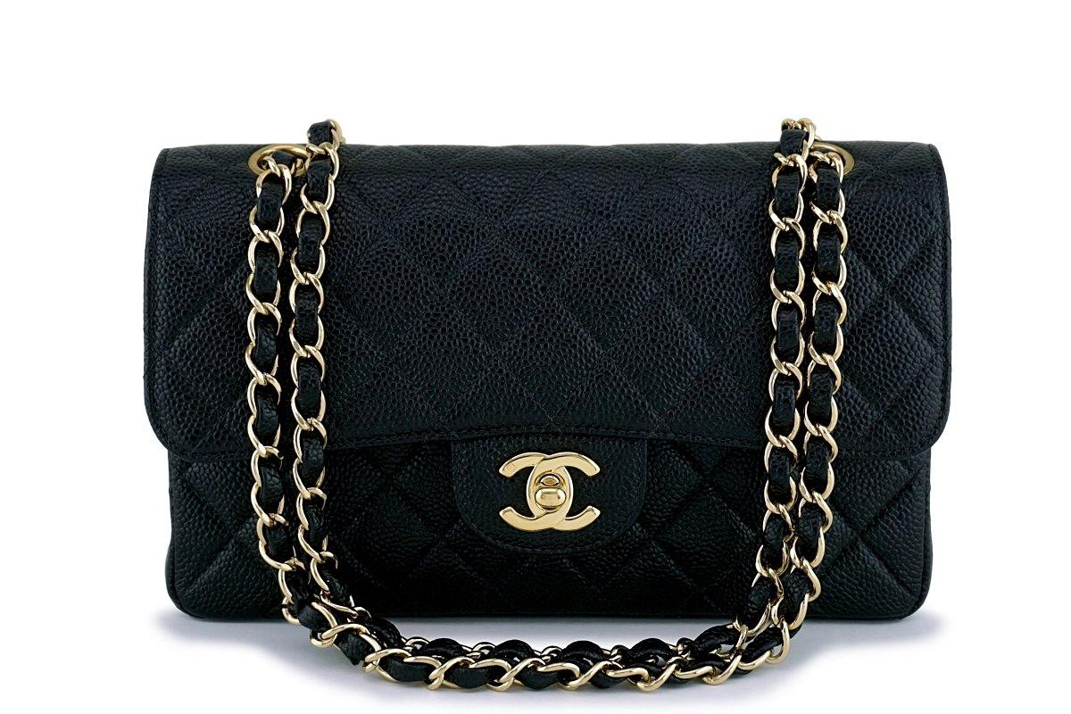 c3a4c4452286 Chanel Black Caviar Medium-Small Classic Double Flap Bag 18k GHW