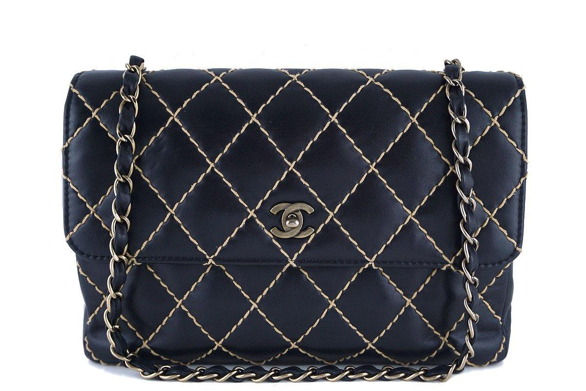 Chanel Black Contrast Stitch Surpique Jumbo Classic Flap Bag