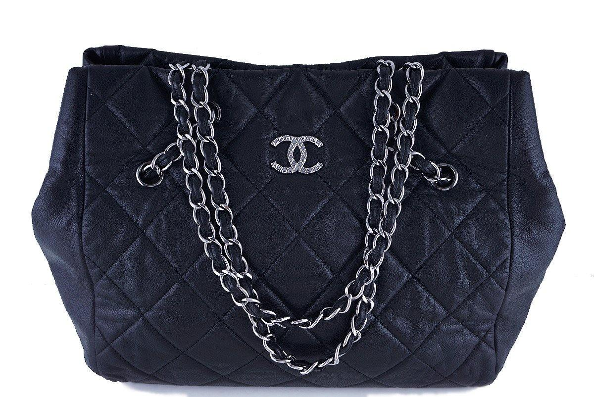 Chanel Black Brilliant CC Soft Caviar Cells Quilted Shopper Tote Bag