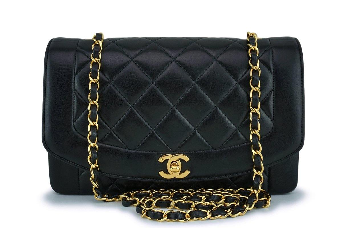Chanel Black Lambskin Vintage Lambskin Diana Medium Classic Flap Bag 24k GHW