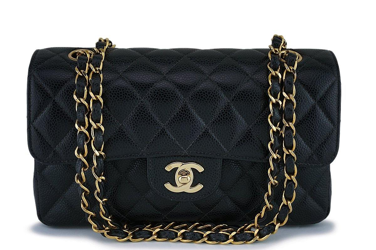 Chanel Black Caviar Small Classic Double Flap Bag 24k GHW