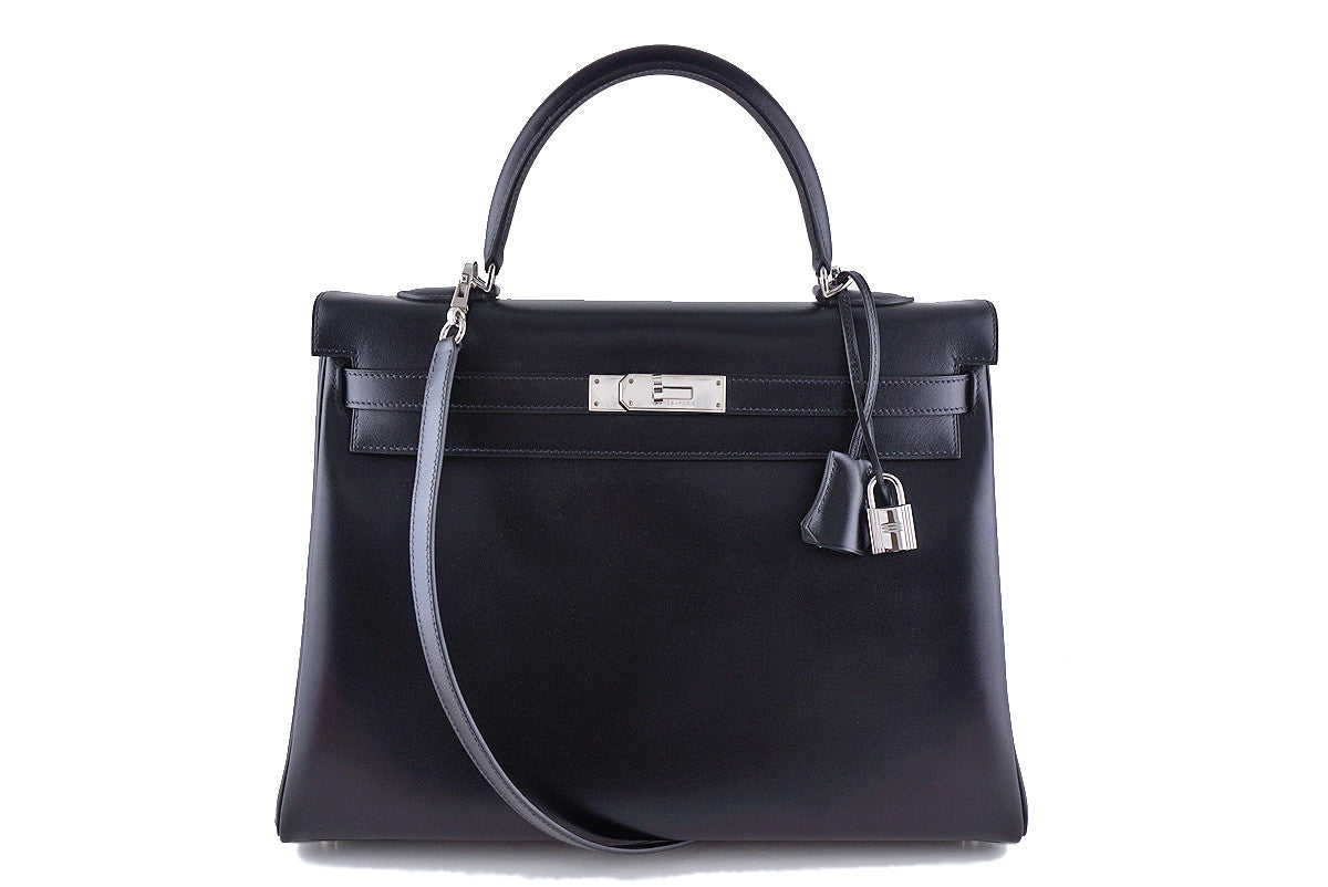 Hermes Black 35cm Box calf Kelly Retourne Bag