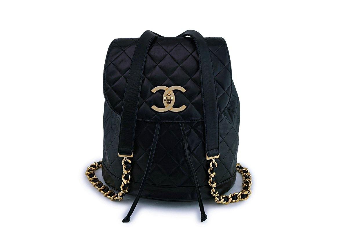 Chanel Vintage Black Lambskin Oversized CC Backpack Bag 24k GHW