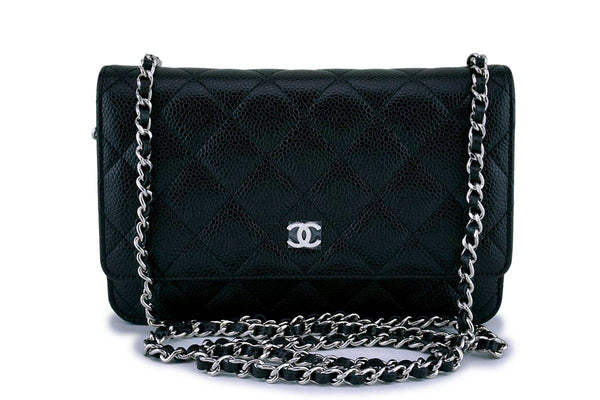 49f7a036debd NWT Chanel Black Caviar Classic Quilted WOC Wallet on Chain Flap Bag SHW