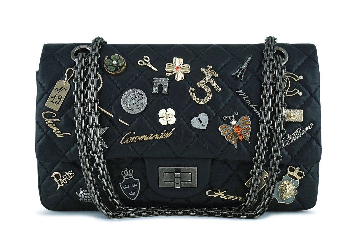 d2d750e9bf45 Chanel Black Rare Lucky Charms Classic Reissue 2.55 Flap 225 Bag
