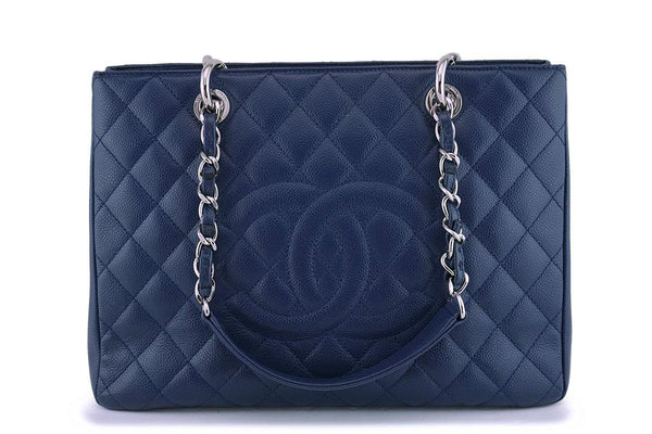 Chanel Navy Blue Caviar Grand Shopper Tote GST Bag SHW