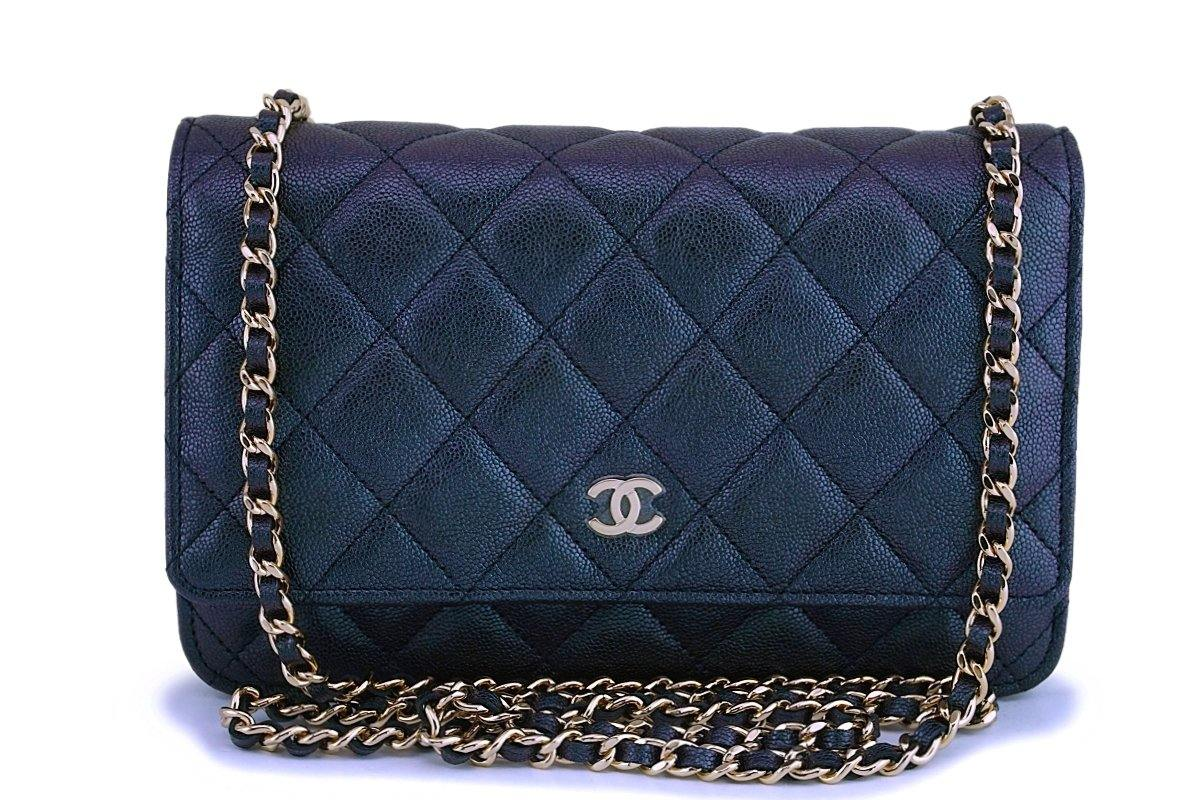 NIB 19S Chanel Iridescent Black-Purple Caviar Classic Wallet on Chain WOC GHW - Boutique Patina