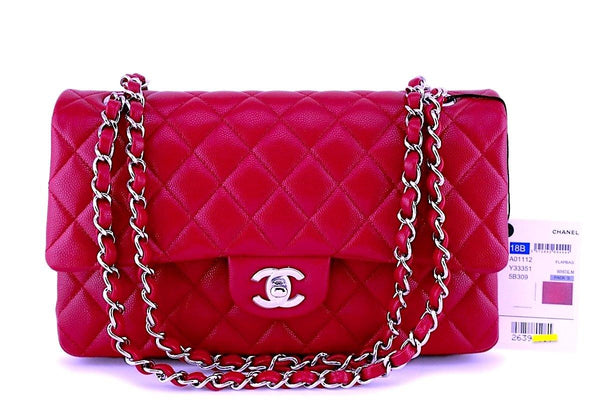 NWT 18B Chanel Red-Pink Caviar Medium Classic Double Flap Bag SHW