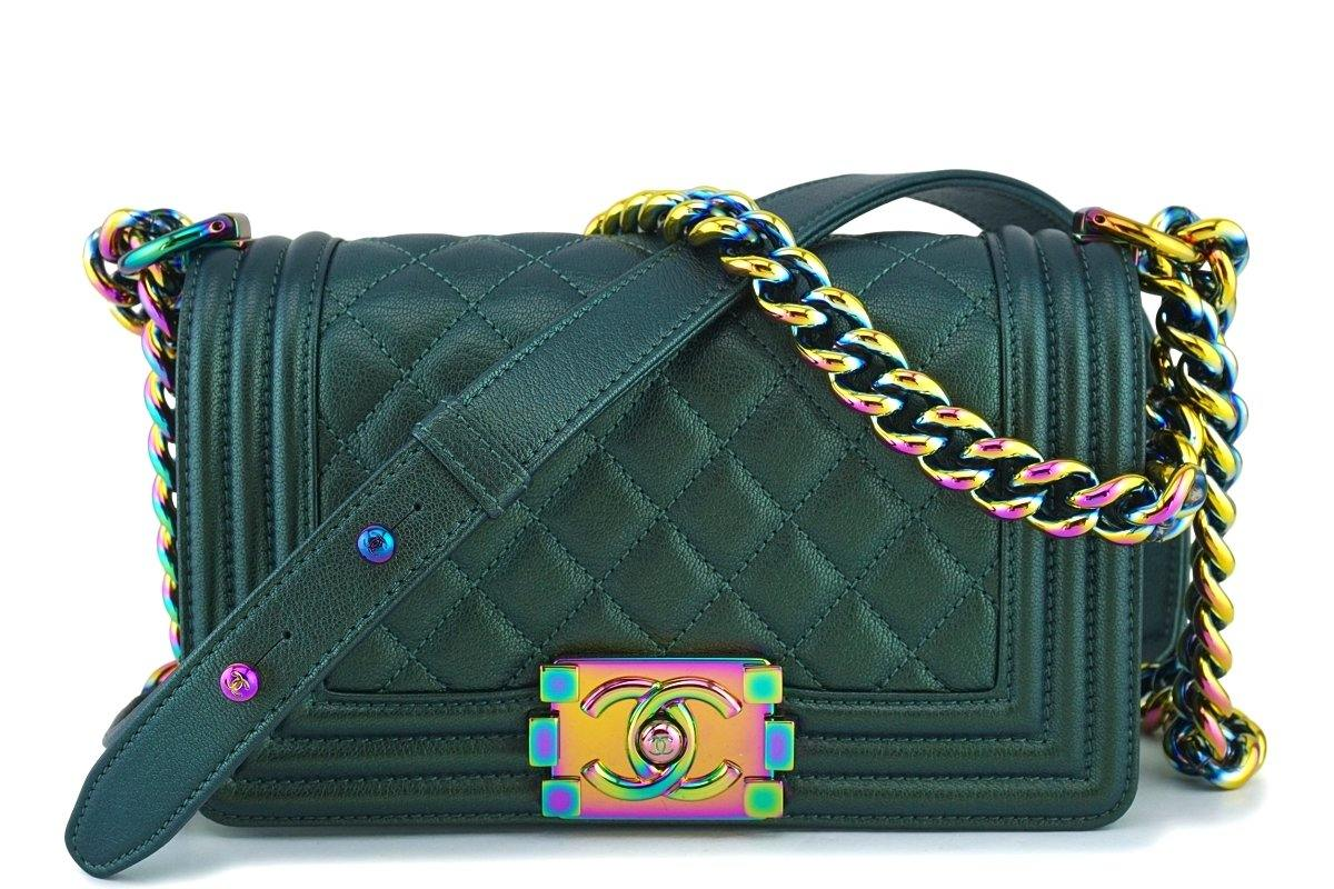 8cff2806b8ef 16C Chanel Iridescent Emerald Green Small Boy Classic Flap Bag Rainbow