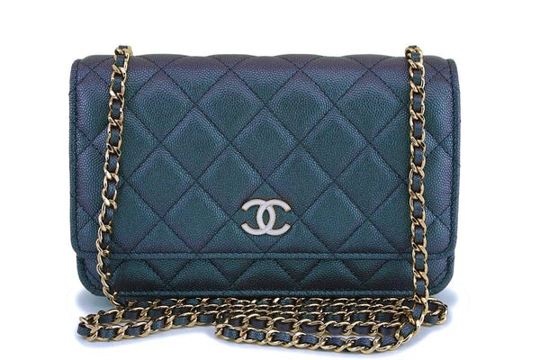 NIB 19S Chanel Iridescent Black Caviar Classic Wallet on Chain Pearly CC WOC Bag