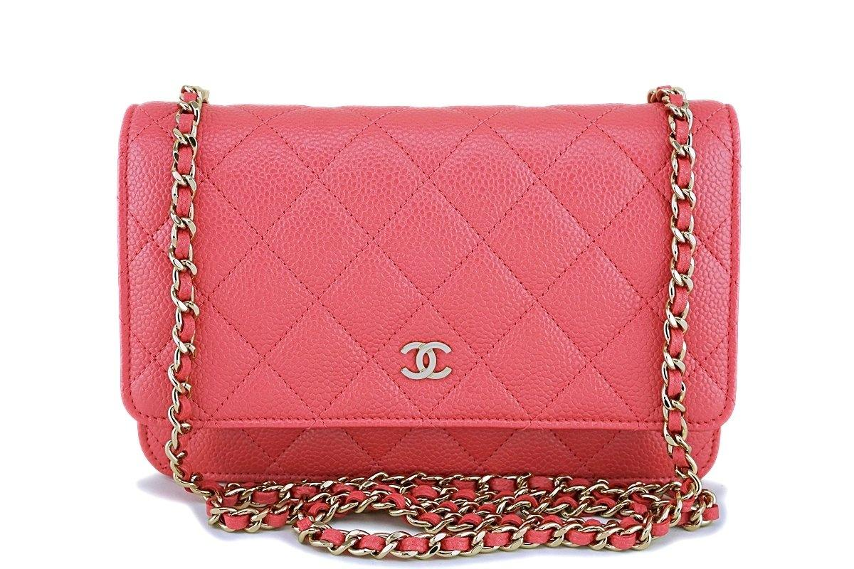 New 18S Chanel Pink Caviar Classic Quilted WOC Wallet on Chain Flap Bag GHW - Boutique Patina
