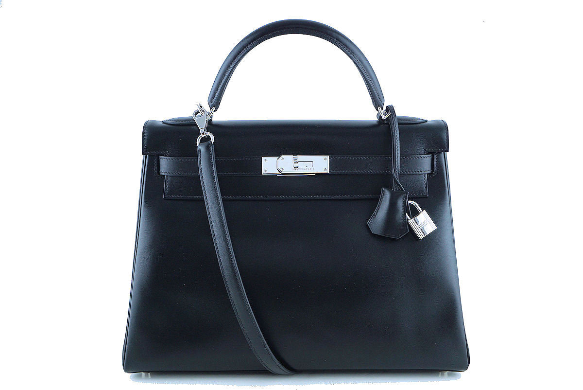 Hermes Kelly Bag, 32cm Black Box calf Retourne PHW