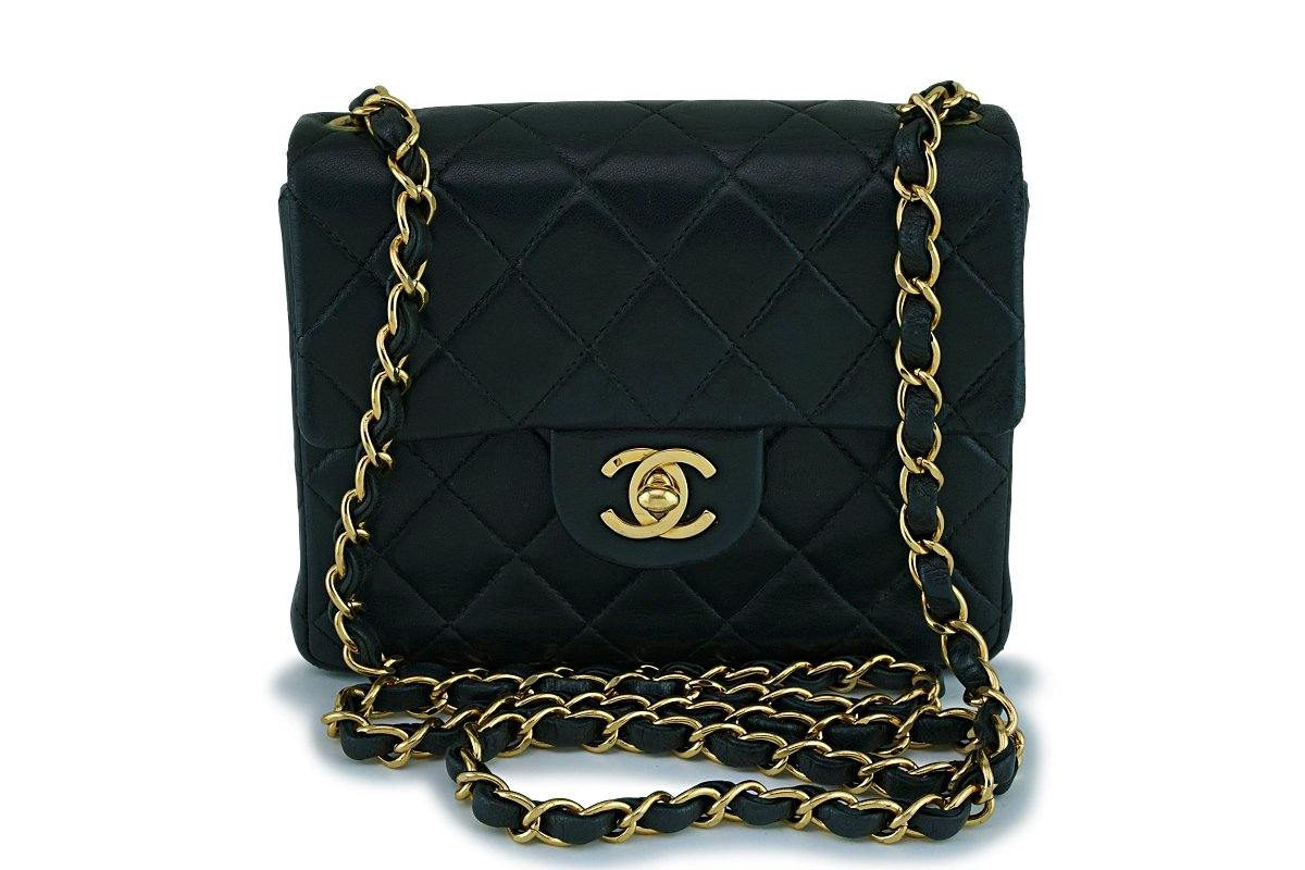 Chanel Black Vintage Classic Square Mini Flap Bag 24k GHW