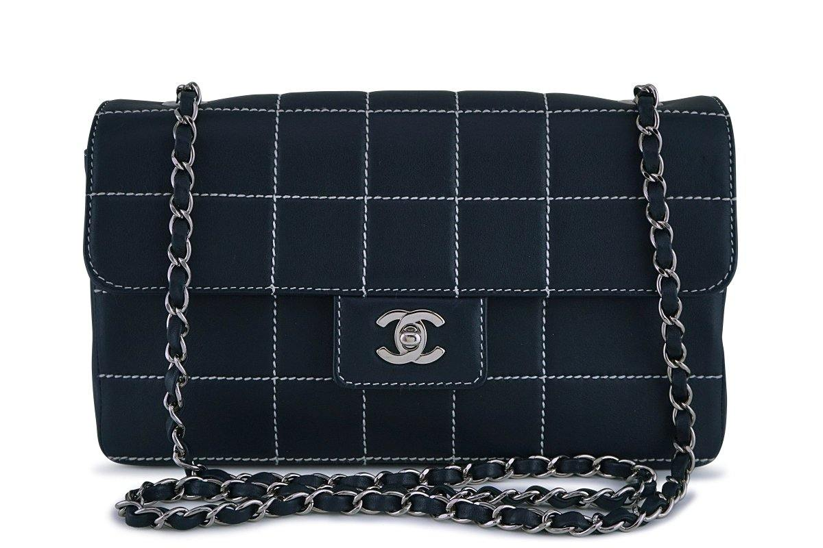 Chanel Navy Blue-Black Quilted Contrast Stitch Classic Flap Bag