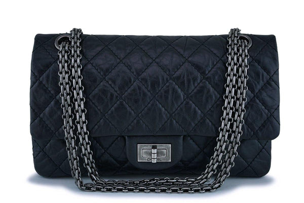 Chanel Black Reissue 2.55 Medium 225 Classic Double Flap Bag RHW