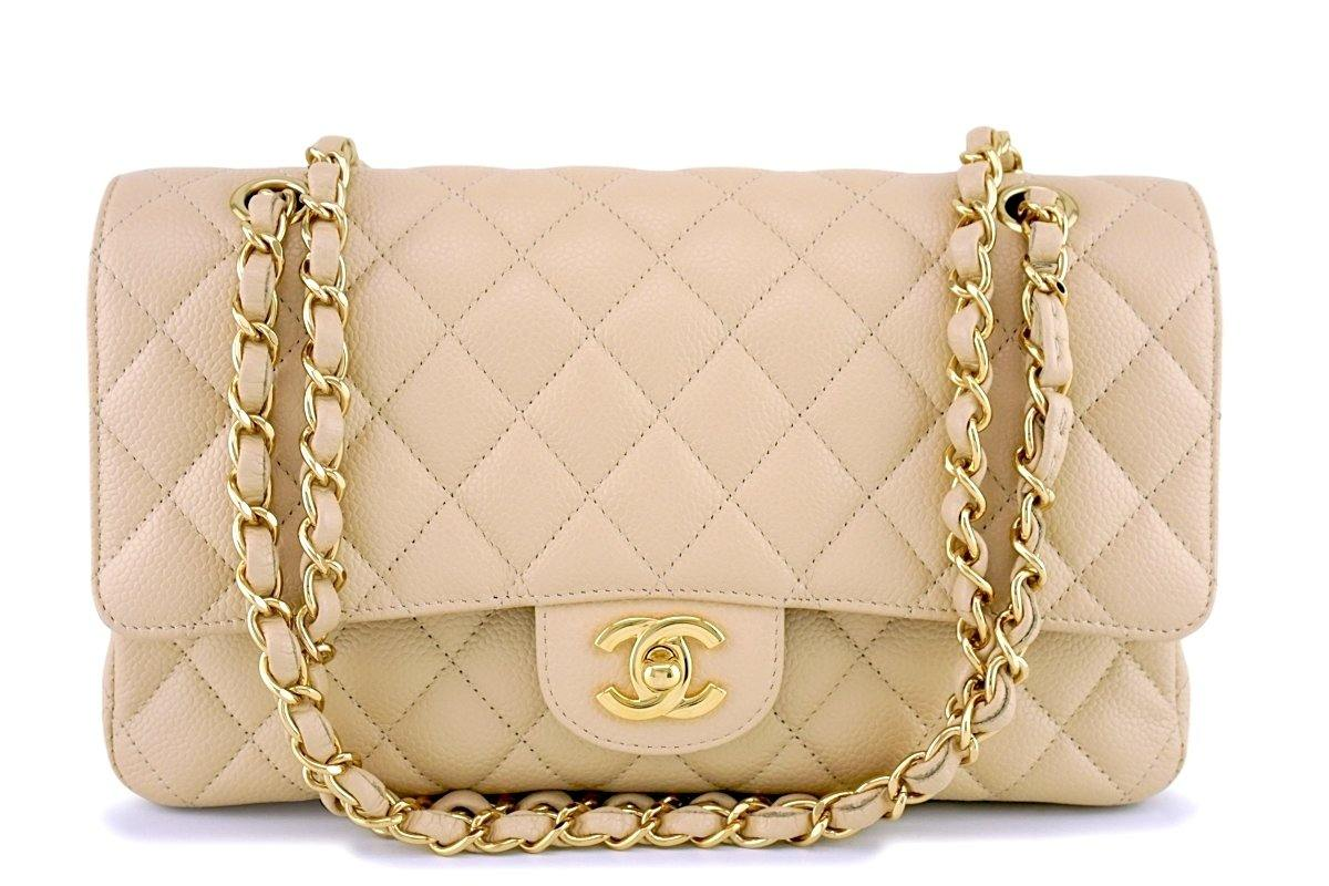 00e93e68c5cd Chanel Beige Clair Caviar Medium Classic Double Flap Bag GHW
