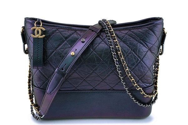 NIB 19S Chanel Iridescent Black Purple Medium Gabrielle Hobo Bag
