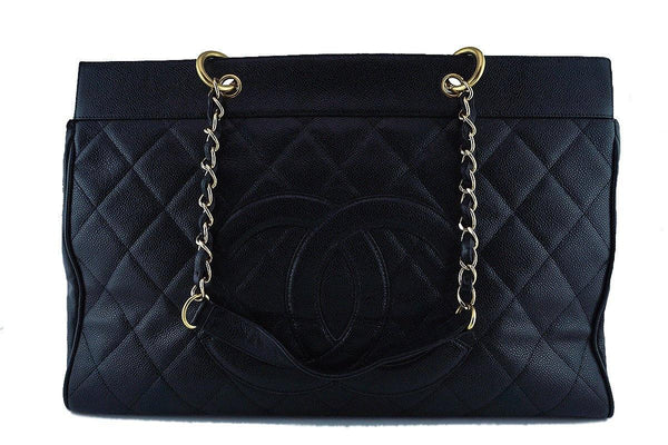 Chanel Black Caviar Classic Weekender GST Grand Shopping Tote Bag