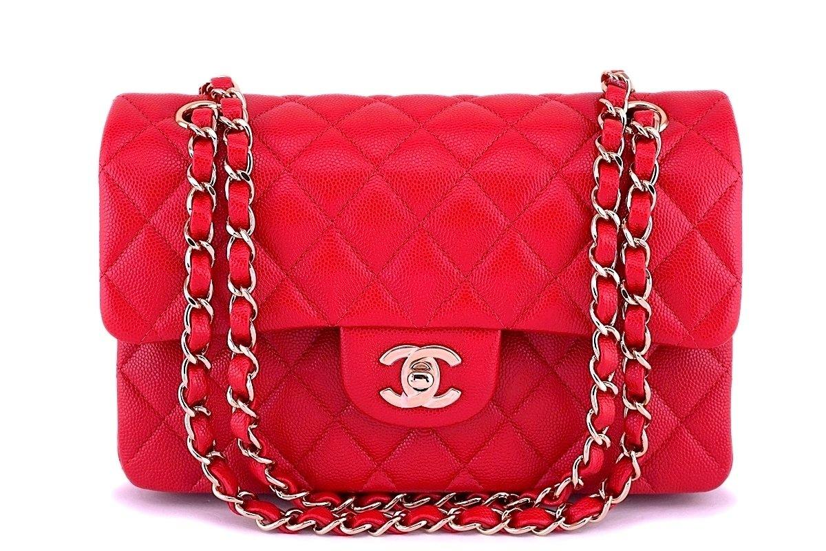 NIB 19B Chanel Red Caviar Small Classic Double Flap Bag GHW