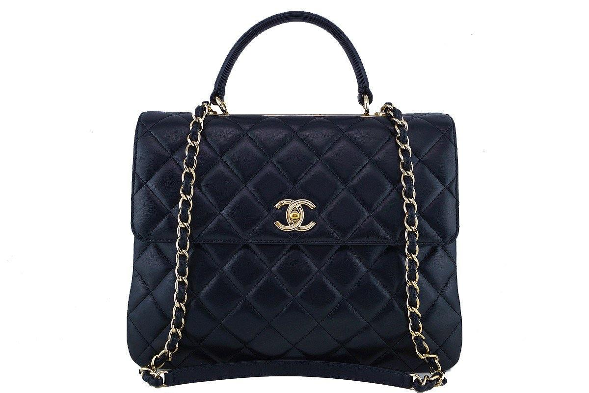 Chanel Black Large Trendy CC Classic Handle Shoulder Tote Bag