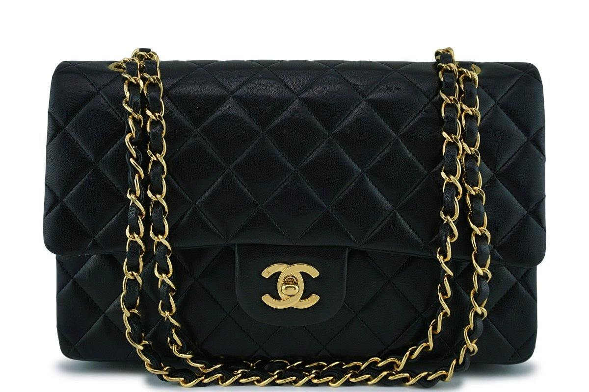 Chanel Black Lambskin Medium Classic Double Flap Bag 24k Gold Plated