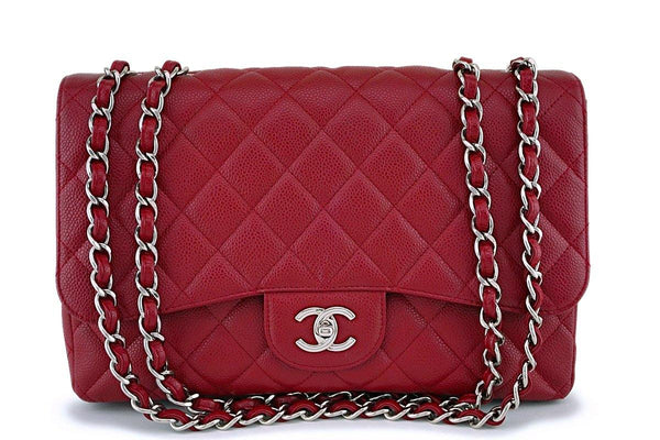 Exc Rare 09A Chanel Red Caviar Jumbo Classic Flap Bag SHW