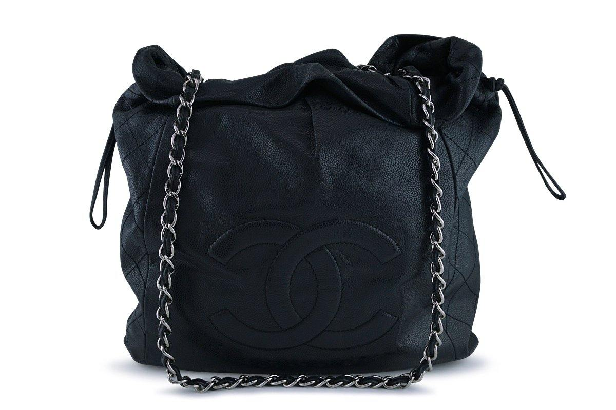 Chanel Black Soft Caviar Large Logo Tote Bag SHW - Boutique Patina
