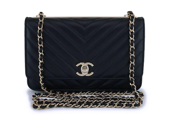NIB Chanel Black Classic Trendy CC Wallet on Chain WOC Mini Flap Bag GHW