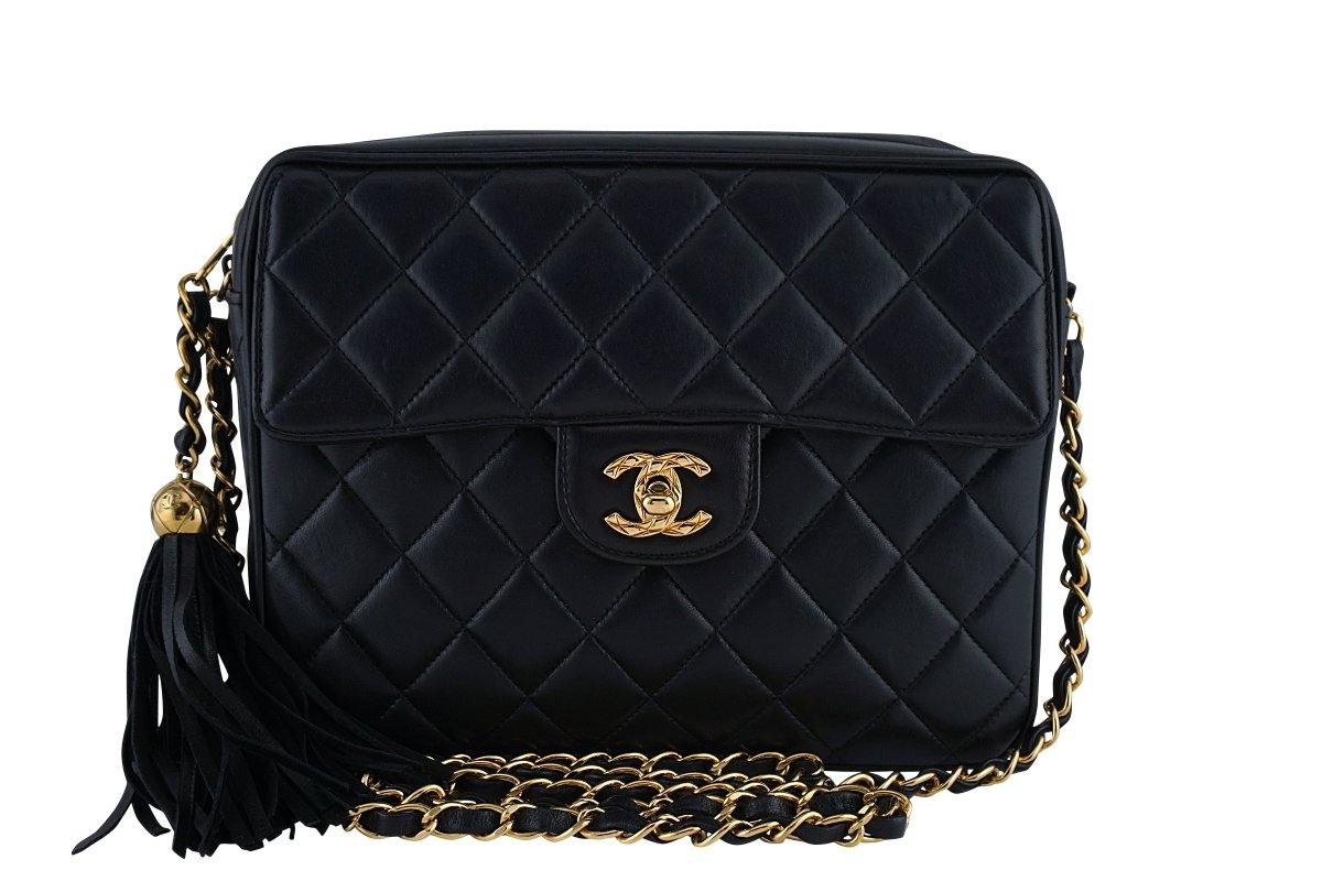 "Chanel Black Lambskin Classic ""Flap"" Camera Case CC Bag"