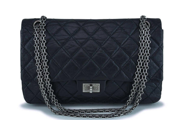 Chanel Black Reissue 226 Medium 2.55 Classic Double Flap Bag RHW