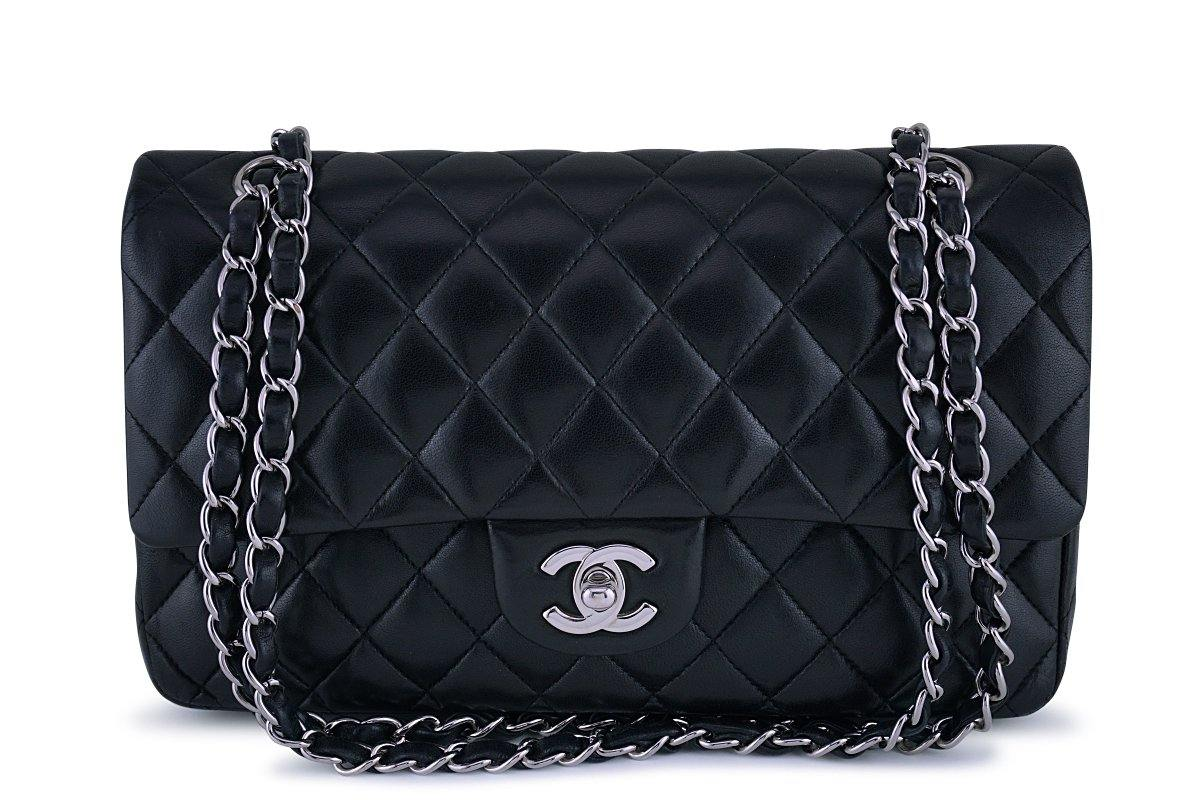 Chanel Black Lambskin Medium Classic 2.55 Double Flap Bag SHW - Boutique Patina