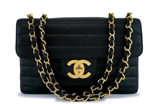 Chanel Black Caviar Vintage Jumbo Classic 2.55 Flap Bag 24k Gold Plated